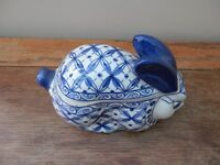 Blue and white Thai rabbit lidded dish