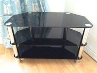 LOVELY STURDY BLACK GLASS & CHROME TV TABLE 3 SHELF