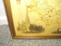 County Map of Wiltshire in oldie style - in gilt colour frame.