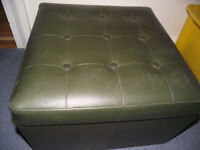 Vintage 1960s Retro Green Miss Muffet Footstool Pouffe Ottoman Storage Box