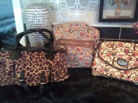 3 bags for sale £10 all 3 the one in the middle has owls and glitter on it really good condition