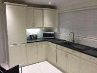 Kitchen units, hob, sink and worktops