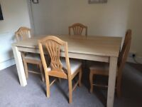 Large dining table - 165cm by 80cm - comfortably seats six people