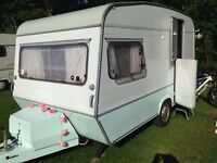 Beautiful cute little vintage lightweight 1970's Monza Caravan for sale with porch awning