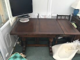 Welsh 1950's dark wood extendable table and 4 chairs
