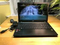 Acer laptop, AMD quad core 2.40GHz, 8GB of RAM, 240Gb SSD, 4 hours battery life
