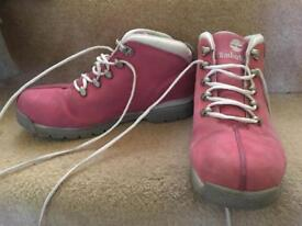 Pink ankle timberland boots size 5