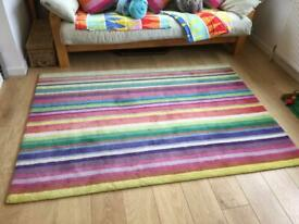 Bright Colourful Striped Large Ikea Rug Strib For Children's Bedroom Playroom
