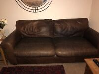 Laura Ashley 2 Seater Leather Sofa Brown