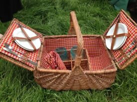 wicker picnic basket and contents