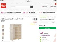 Brand New Pine and Polycotton Double Wardrobe