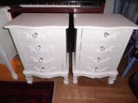 2 White Decorative Bedside Cabinets + Small White Decorative Chest of Drawers
