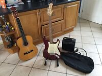 Carlsbro Electric Guitar and Amp - Also acoustic guitar and Stand