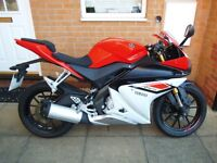 YAMAHA YZF R125 ( 15 REG ) RED & WHITE / NEW SHAPE / ABS *** LOW MILEAGE ***