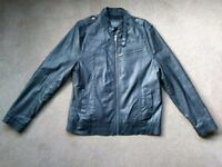 Burtons mens black faux leather jacket XL
