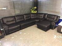 Harvey's Reid hedgmoore black leather recliner large corner sofa 6-7 seater chaise end cup holder
