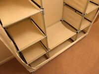Canvas Wardrobe (Clothes Cupboard Hanging Rail Shelves Bedroom Storage Furniture) very good cond'n