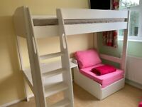 Stompa Children's bed - Uno S Highsleeper Inc Desk & chair bed in pink (used)
