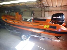 5 METER HUMBER ASSAULT RIB, 60 HP MERCURY 4 STROKE ENGINE & ROLLER TRAILER! VERY GOOD CONDITION.