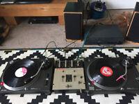 Pair of Technics SL-1210 mk2, plus mixer, amp & speakers