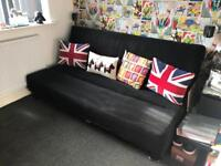 Black fabric sofa bed barely used