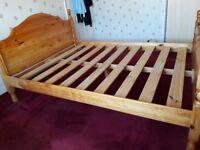 Kingsize Pine bedframe for sale £40.