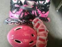 Girls skate and helmet set