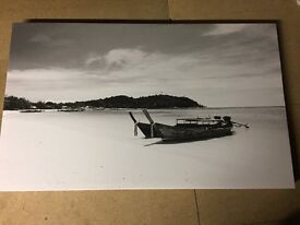 Black & White Canvas - Thailand Beach Boats