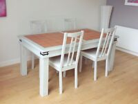 Beautiful Pine table (terracotta inlaid) and 4 chairs, shabby chic, handpainted (near Plymouth)