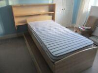 Single Bed with Storage Draw, Matress & Storage Unit