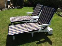 Two luxury garden sun loungers sun beds with cushions £200
