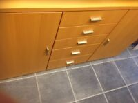 BEECH COLOUR 2 DOOR 5 DRAWER SIDEBOARD WITH FROSTED GLASS VGC, MEASURES 64 INCHES WIDE X 18.5 IN