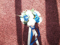 WEDDING BOUQUET BRIDE BRIDESMAID BLUE & WHITE