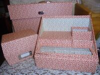 Paperchase Desk Set large folding folder, desk set for pens notes & box for contacts all new!