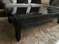 Coffee table, 2x side table and tv unit black high gloss glass