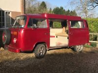 'Mobi', a Very reliable 1972 T2 Devon lift top Camper van, good body work and chassis.