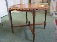 Oak carved side table circular £50