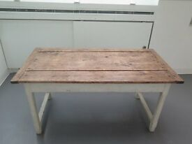 Vintage solid wood kitchen table with white painted timber frame