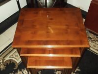 NEST OF 3 CHERRY WOOD TABLES