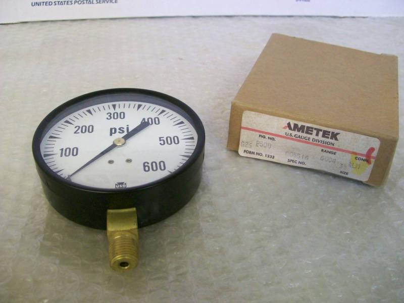 "NEW IN BOX AMETEK # P500 GAUGE 0-600 PSI 3 1/2"""
