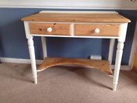 Pine Wood desk, side/hall table, table painted legs, two drawers