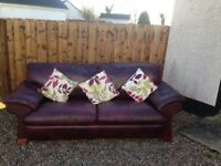 2 and 3 seater ox blood leather sofas