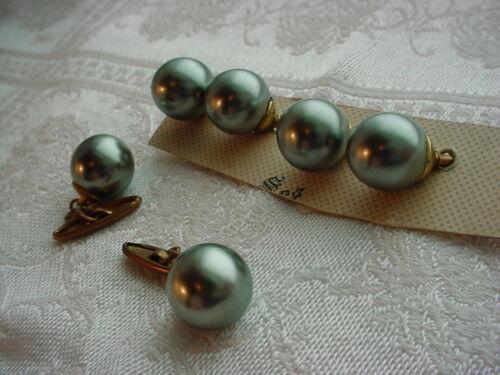 Vtg Ladies Cufflinks Button Set Pearly Grey