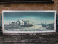 large framed sea picture retro 7os by folland midnight estury