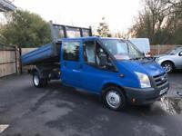 2008-57-reg ford transit 350-115ps 2.4TD crew cab tipper 3500kg Free UK delivery no vat