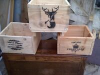 """set of three planters reclaimed wood approx 13"""" by 13"""" shabby chic"""