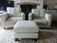 2 x Cream Leather Armchairs/Footstool