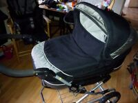 Emmaljunga Classic Pram, chassis , carrycot, pushchair, baby car seat and covers.