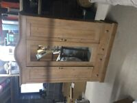 Lovely antique pine triple door wardrobe with 2 drawers