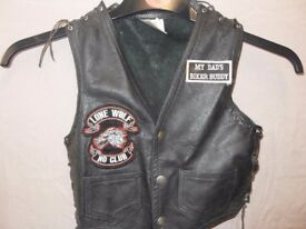 childs lace sided leather bikers waistcoat with patches